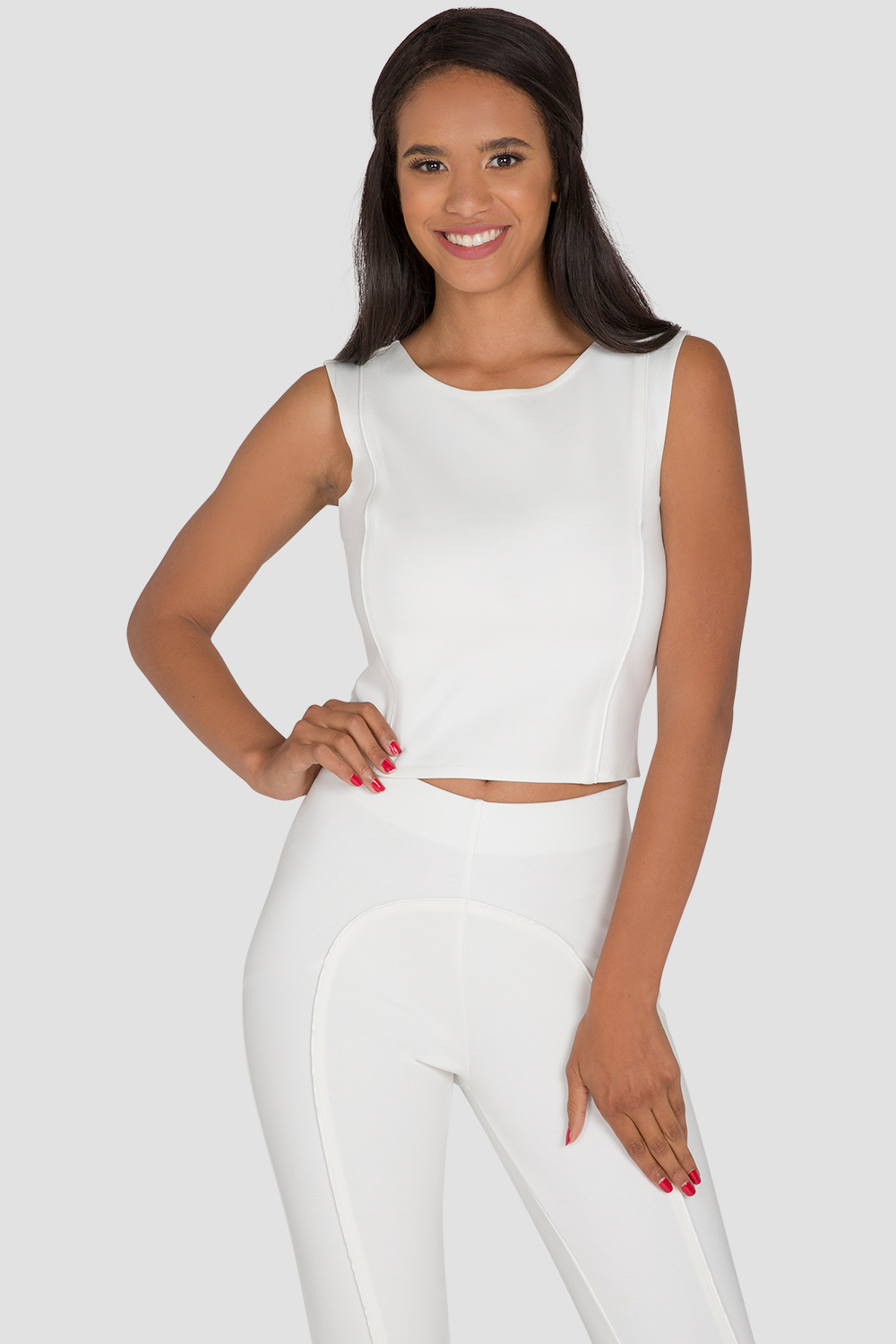 Women's White Ponte Skimmer Top