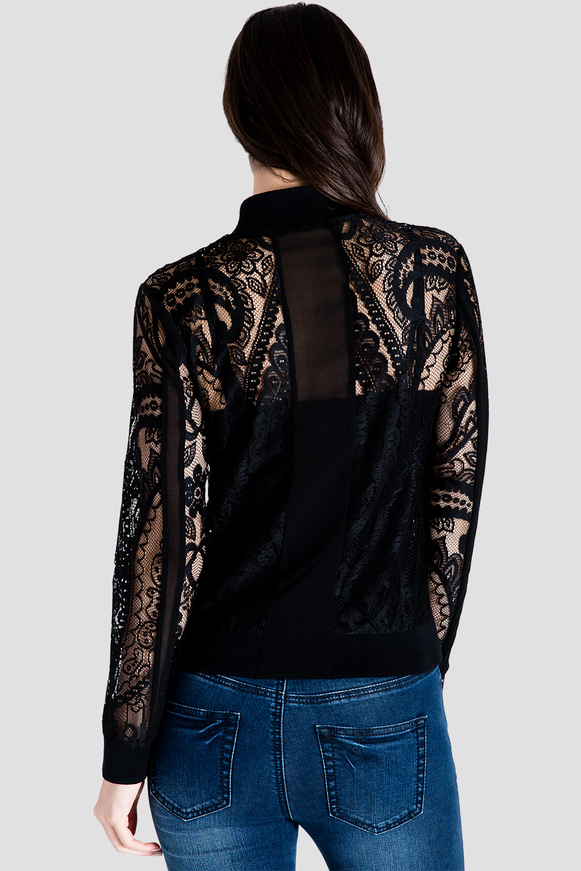 Women's Peek-A-Boo Black Lace Bomber Jacket