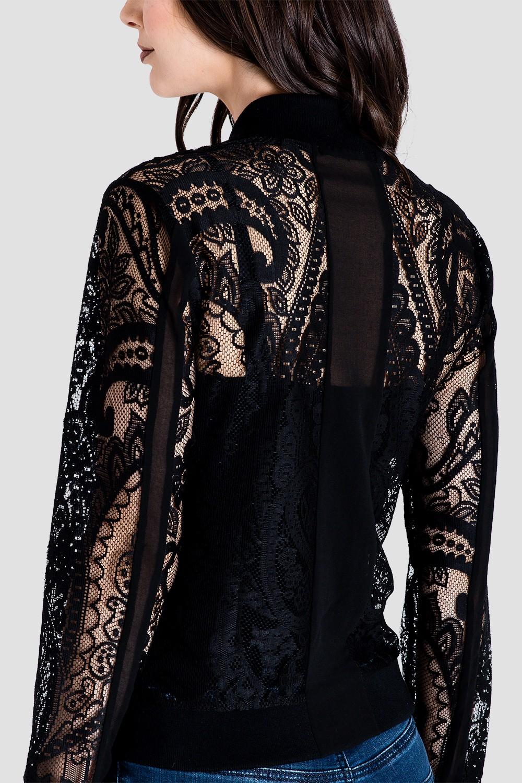 Women's Black Lace Bomber Jacket