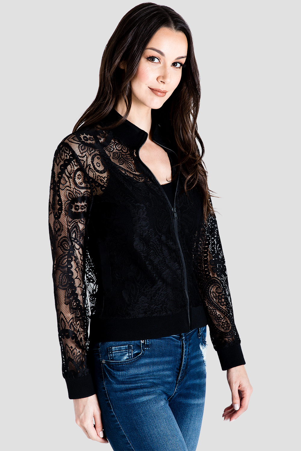 Standards & Practices Women's Peek-A-Boo Black Lace Bomber Jacket