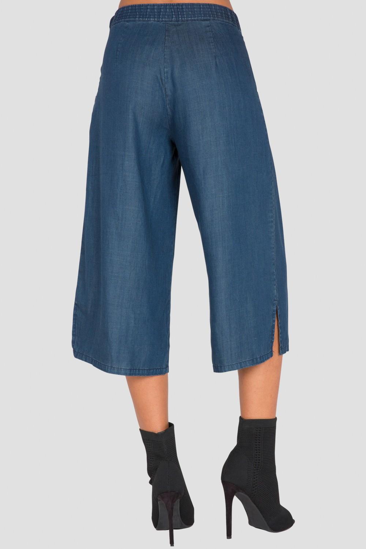 Standards & Practices Women's Wide-Leg Cropped Blue Denim Gaucho Pants