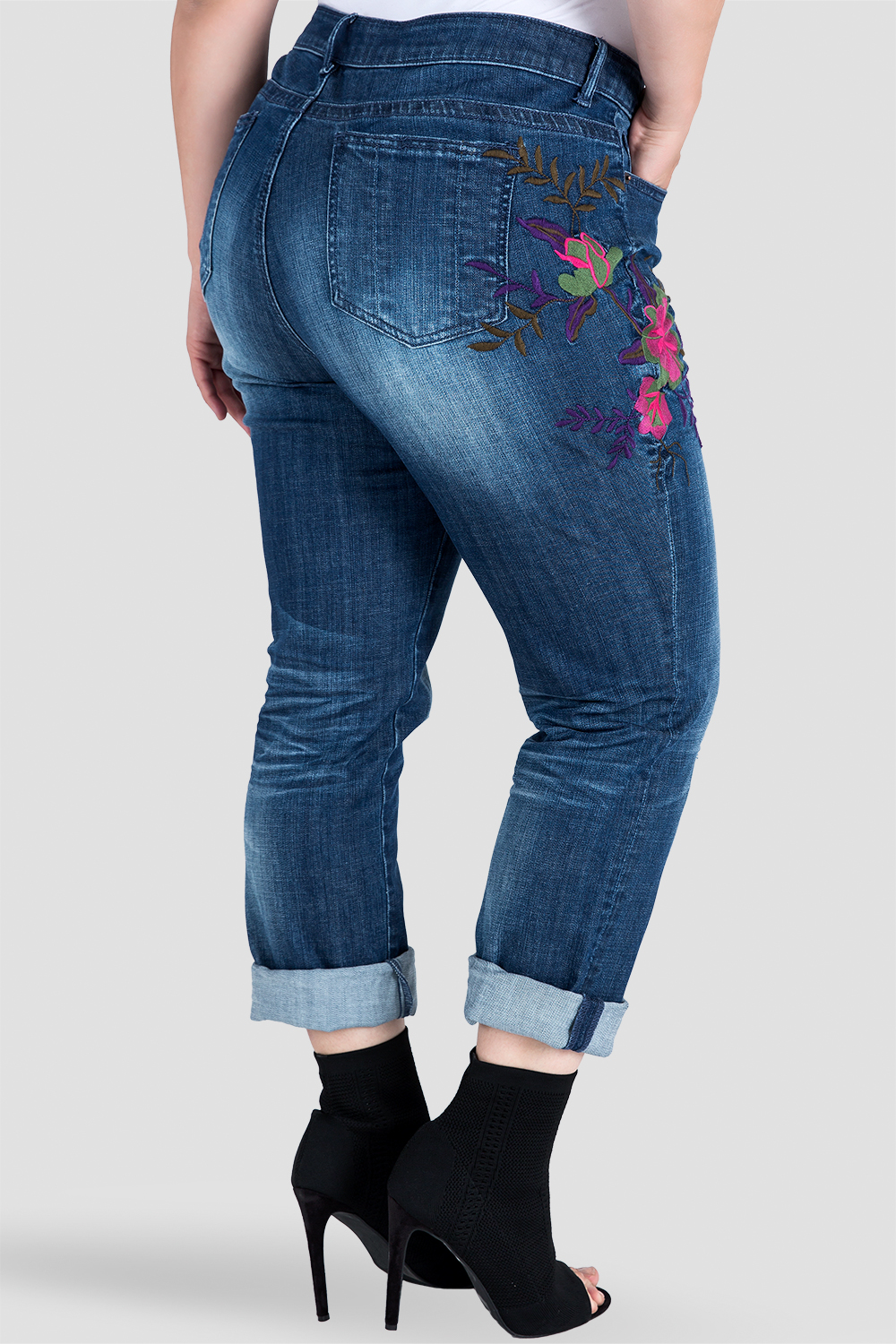 Plus Size Embroidered Distressed Boyfriend Jeans