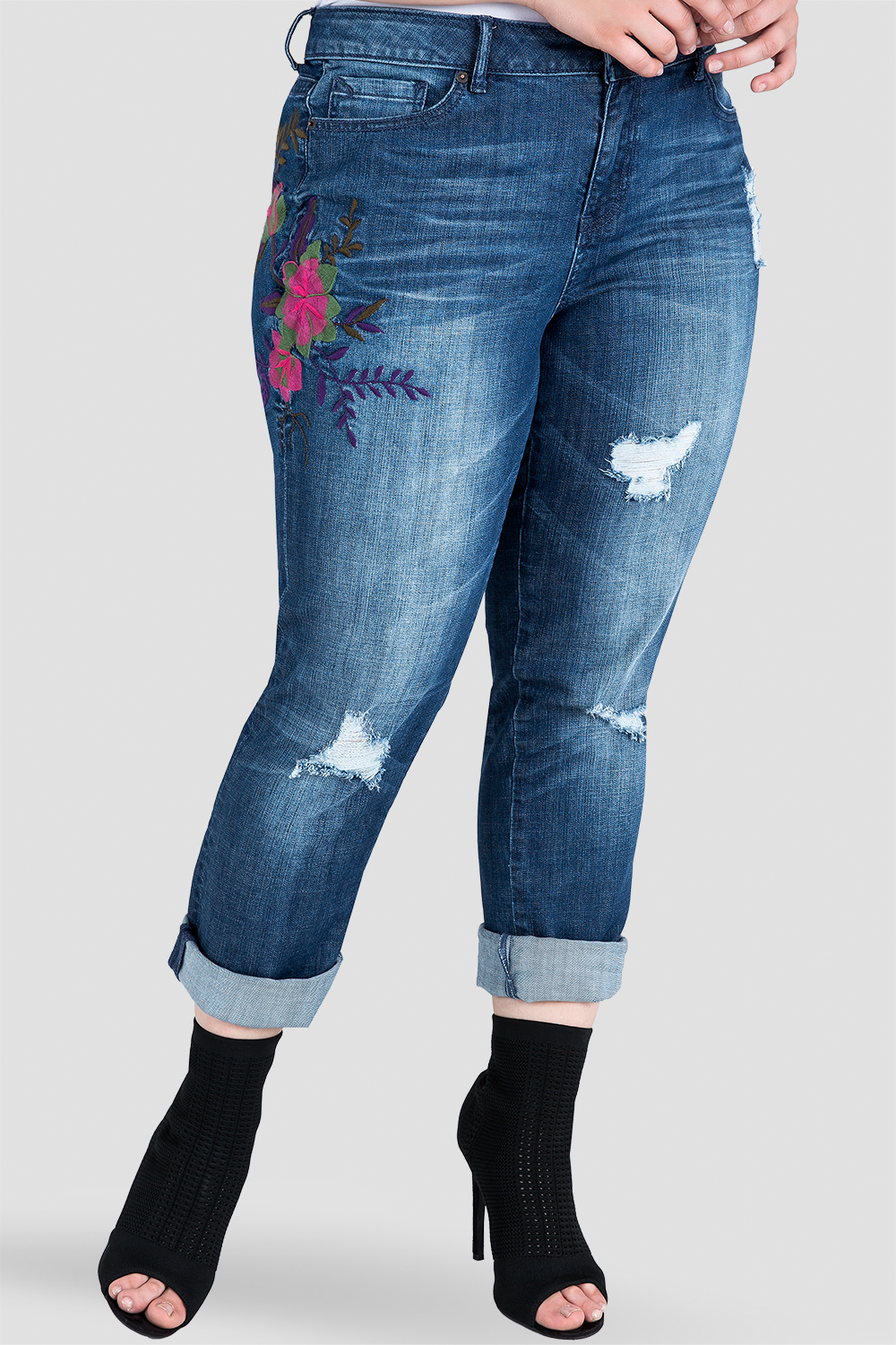 Plus Size Standards & Practices Embroidered Distressed Boyfriend Jeans