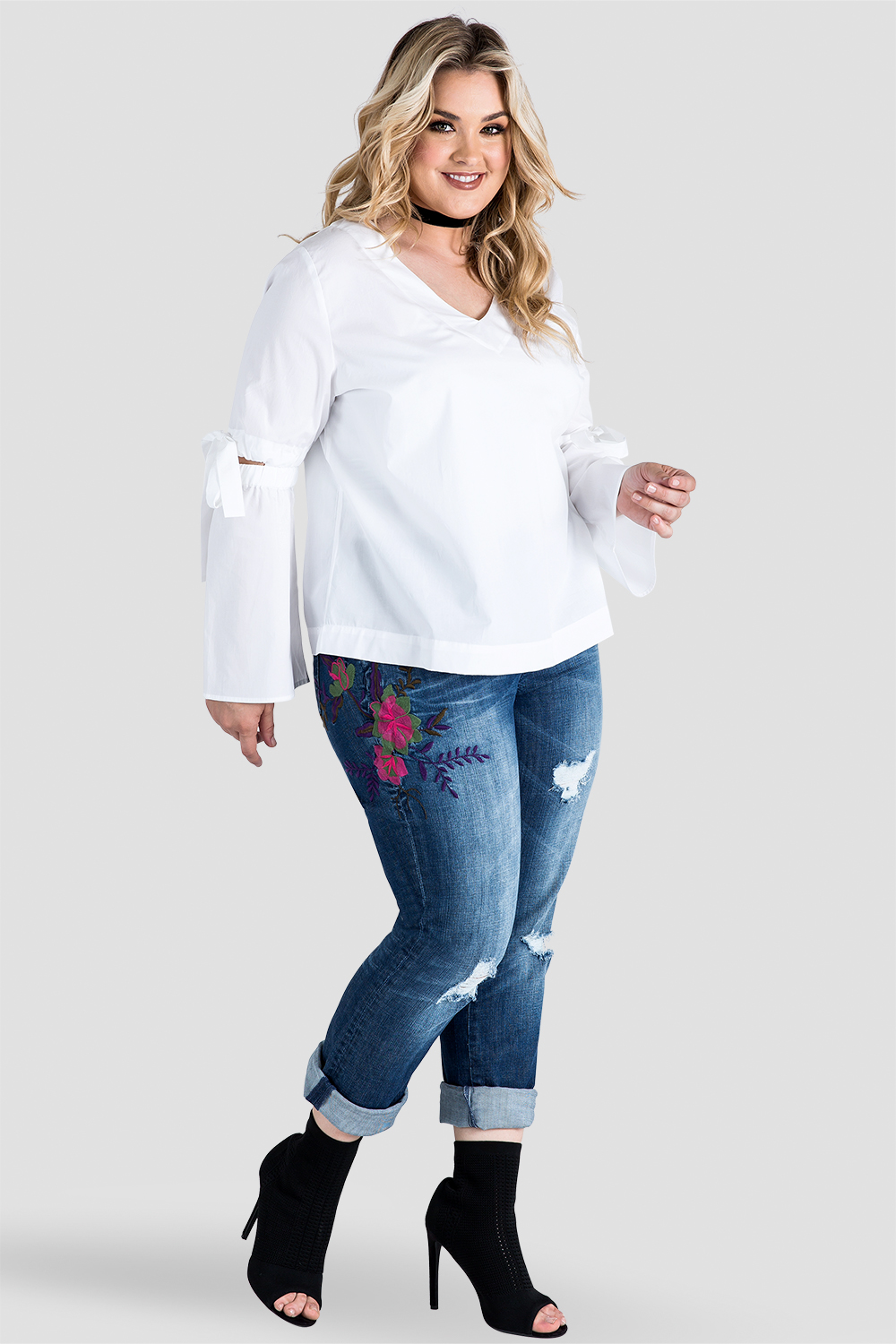 Plus-Size X-Boyfriend Embroidered Distressed Jeans Front