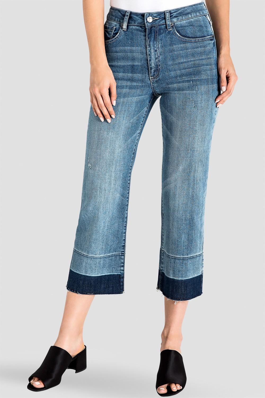 Frayed Raw Hem Cropped Women's Jeans
