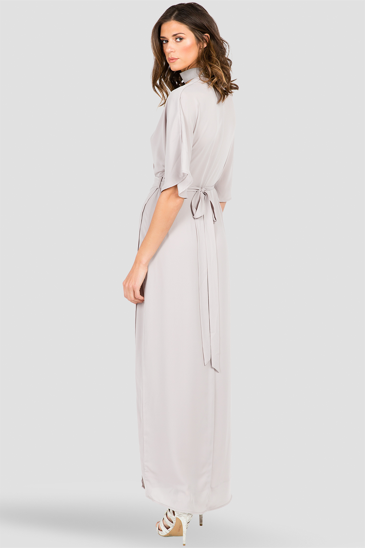 fe40ab17f6a Standards   Practices - Women s Light Gray Kimono Sleeve Wrap Maxi ...
