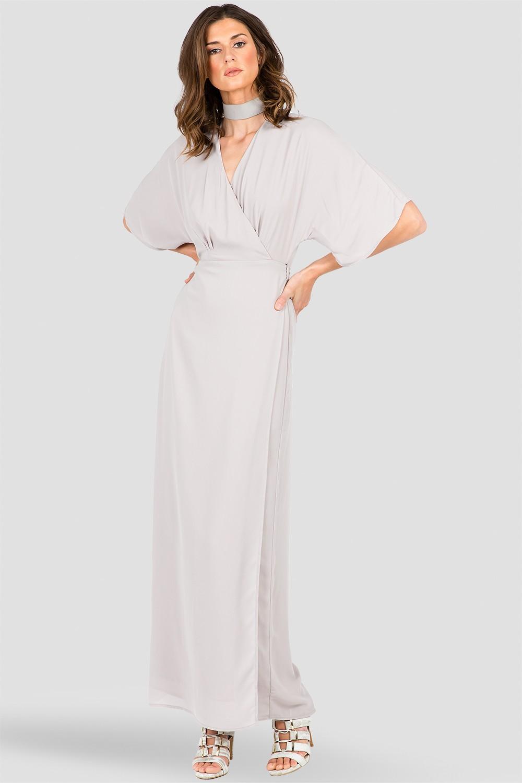 Women's Gray Long Wrap Maxi Dress