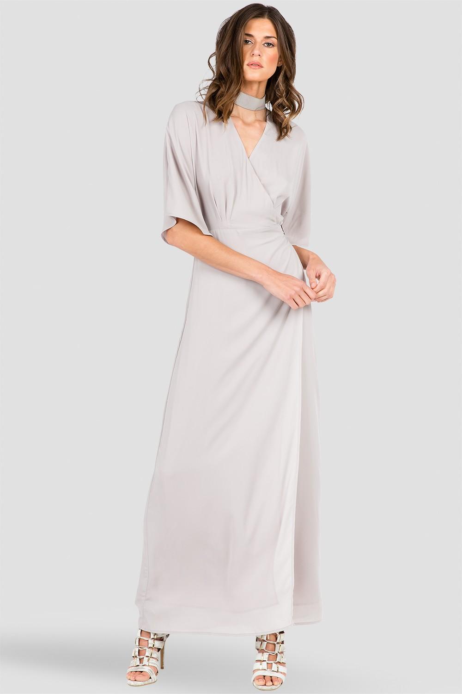 Dark Grey Print Kimono Wrap Maxi Dress