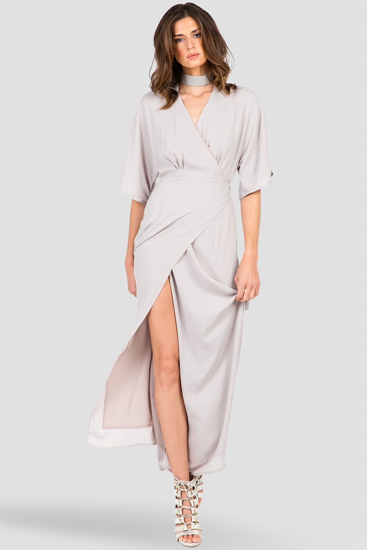 Women's Light Grey Long Wrap Maxi Dress