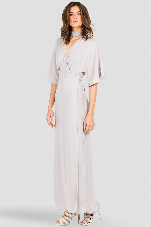 Light Gray Kimono Wrap Maxi Dress