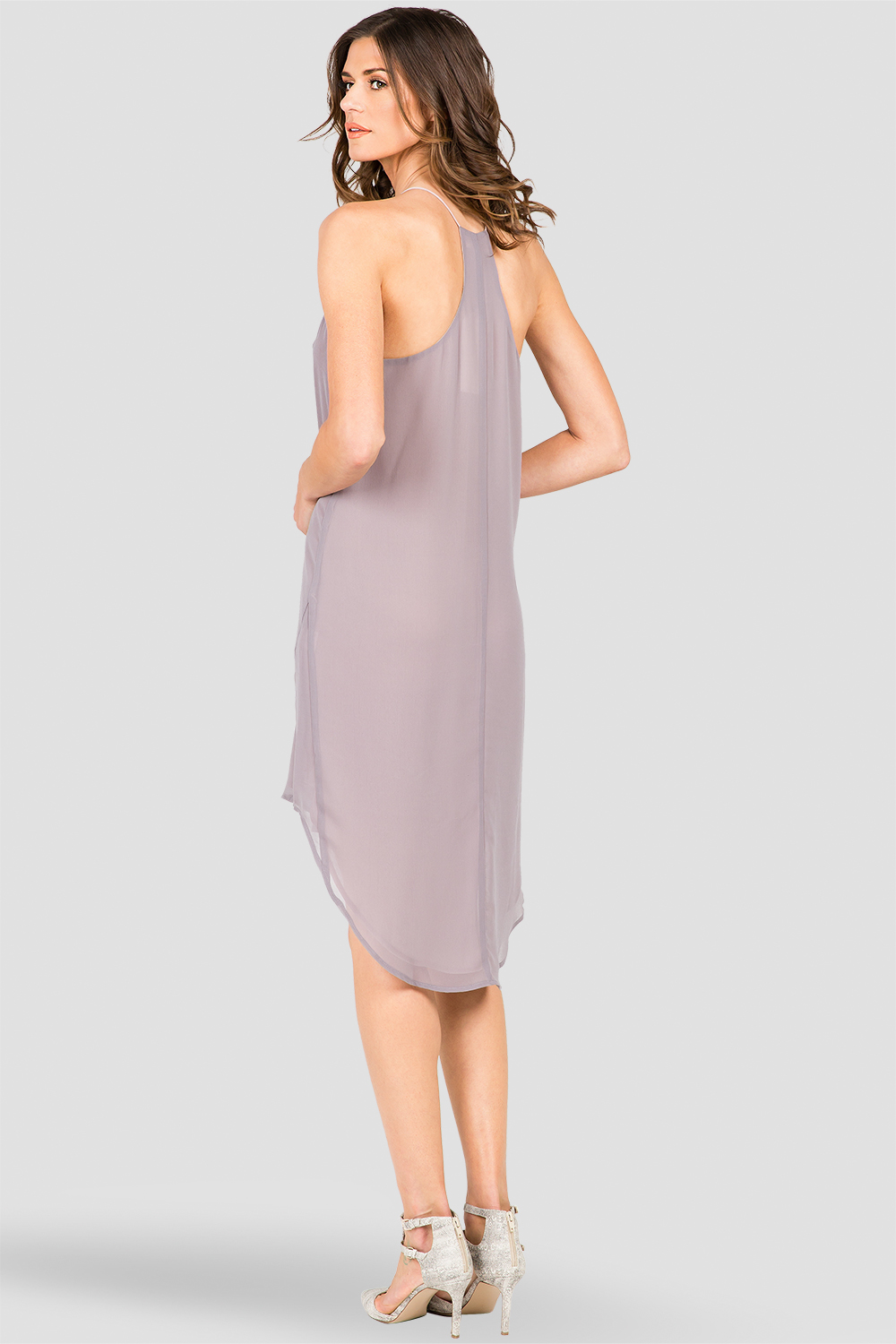 Smoke Gray  Racerback Dress with High-Low Hem