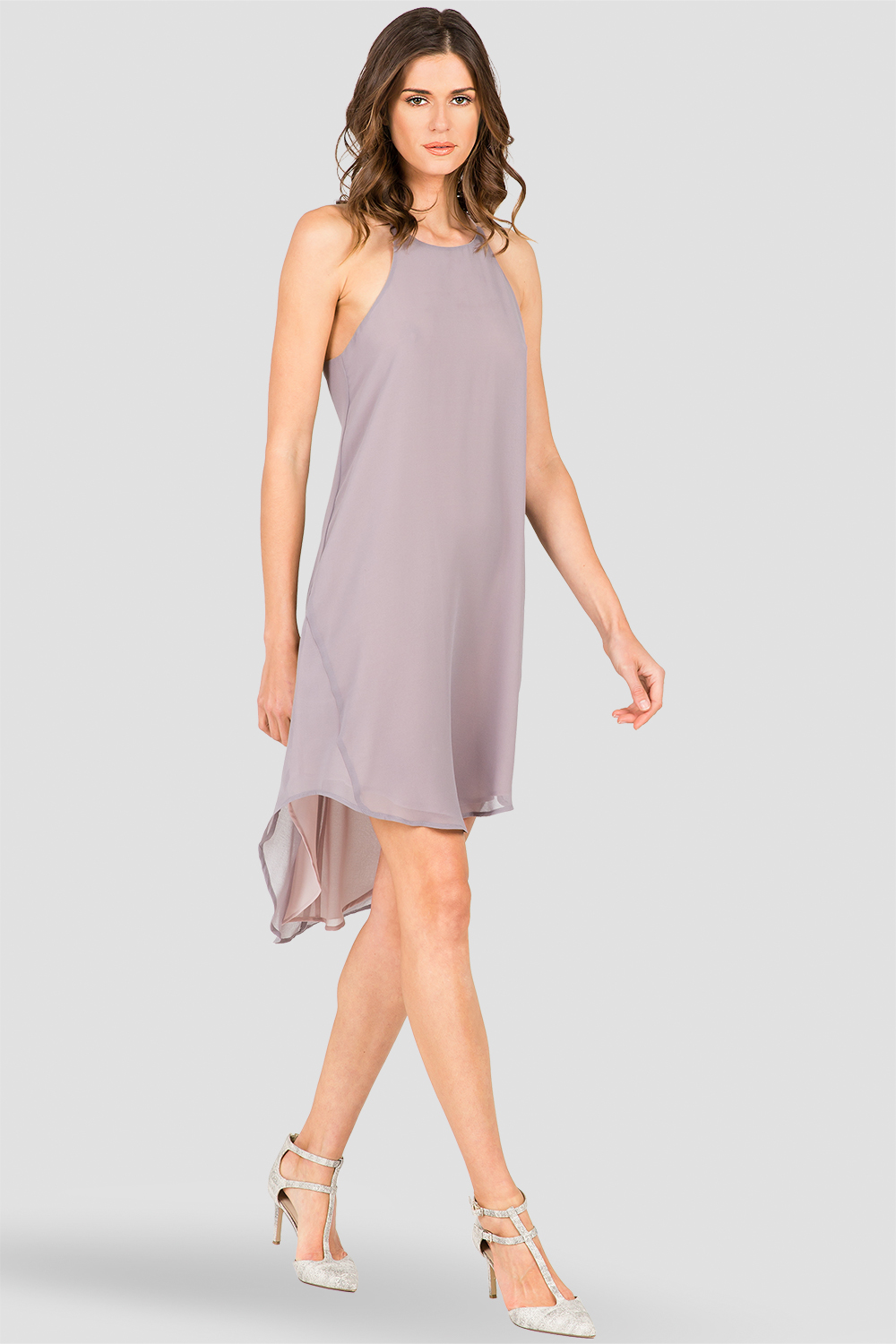 Women's Racerback Spaghetti Strap Gray Dress