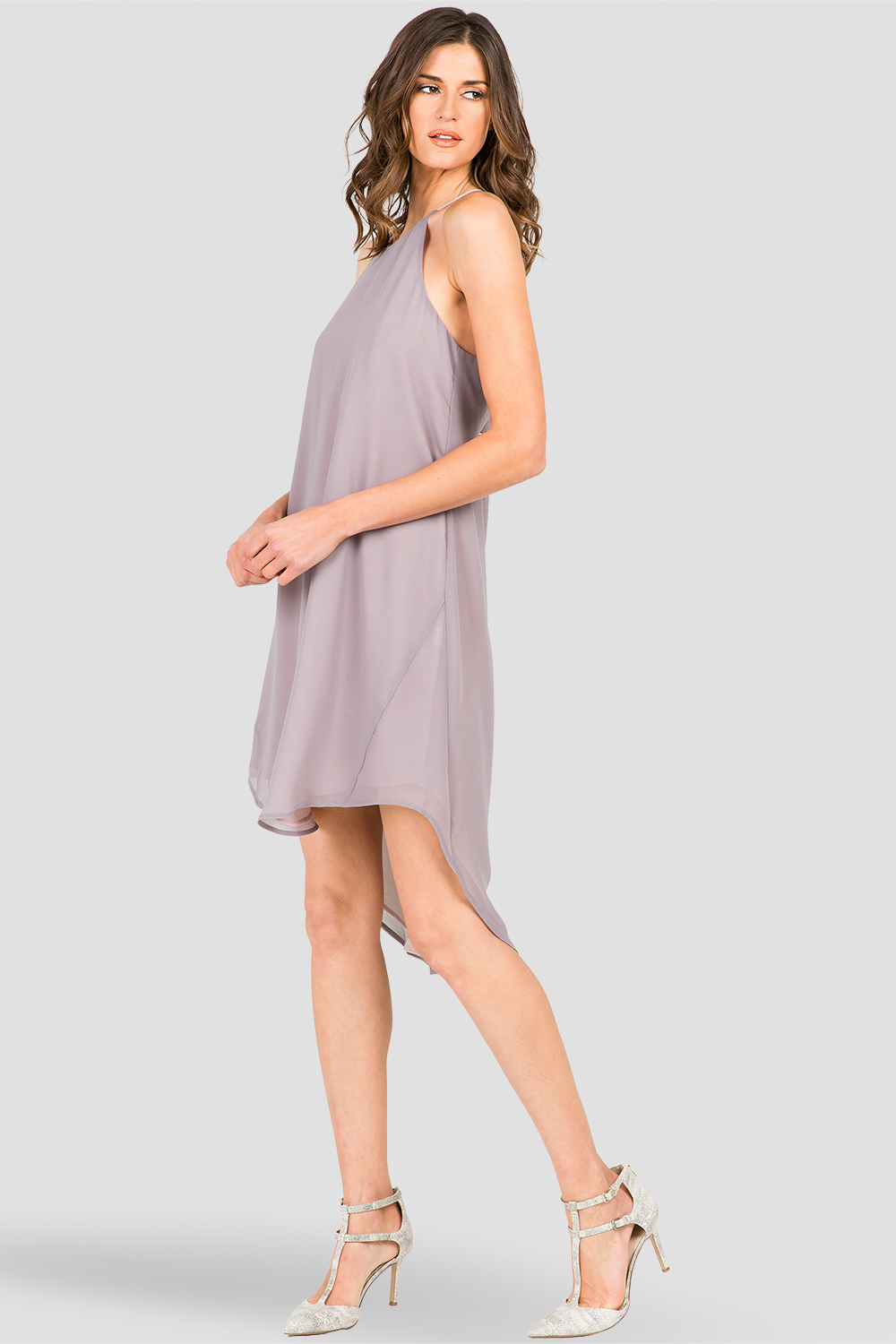 Ashley Racerback Spaghetti Strap High-Low Dress Smokey Grey And Mauve
