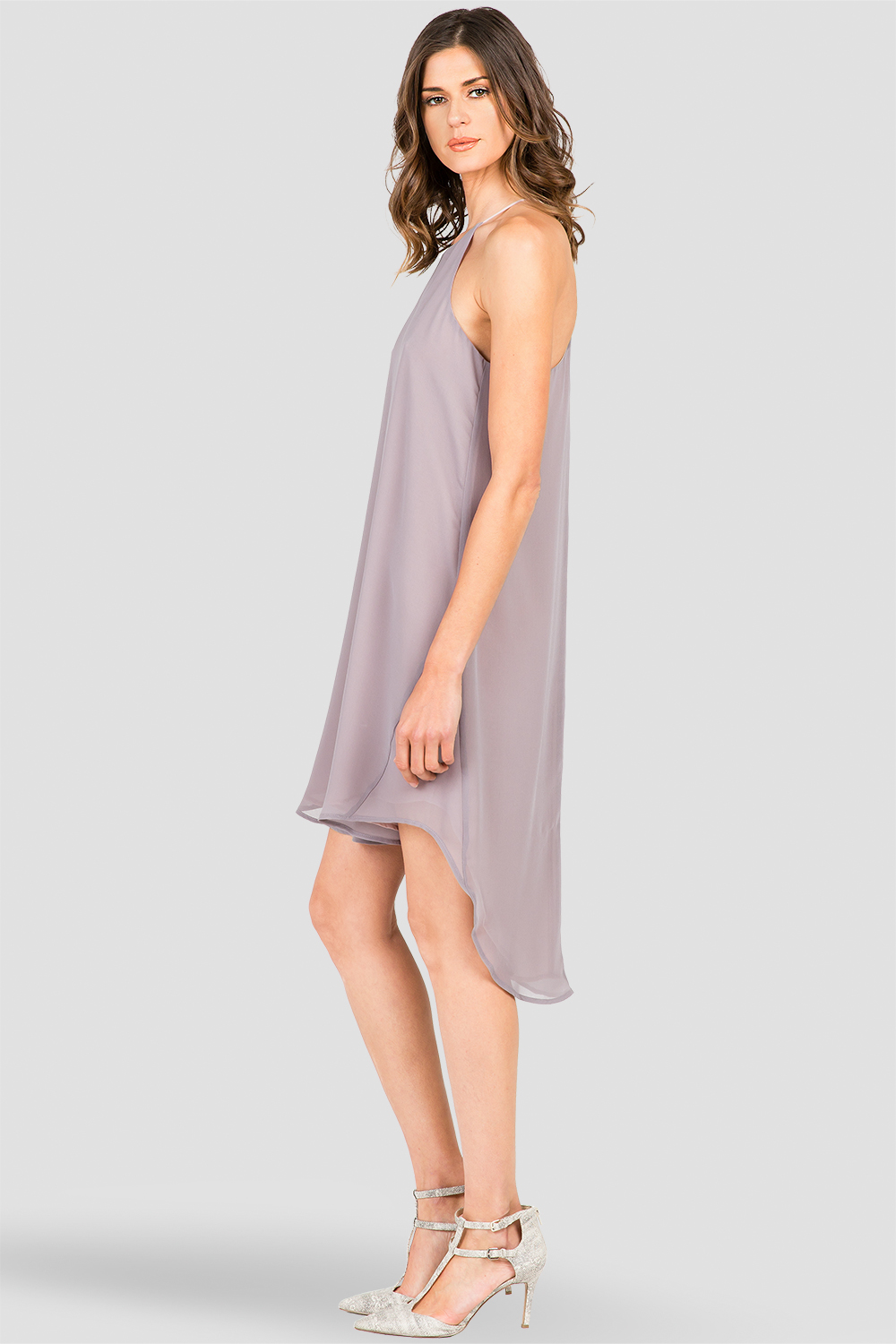 Dark Grey High-Low Racerback Dress