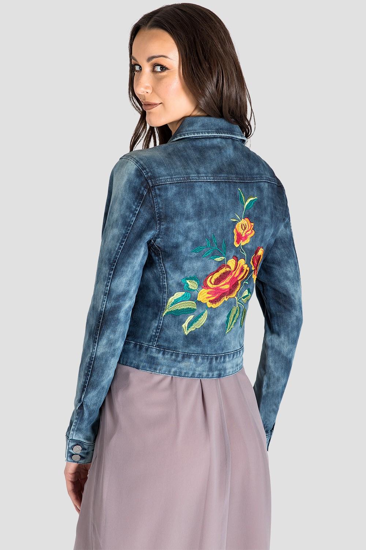 Floral Embroidery Indigo Acid Wash Jean Jacket