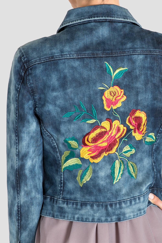 Standards & Practice's Embroidered Indigo Acid Wash Denim Jacket