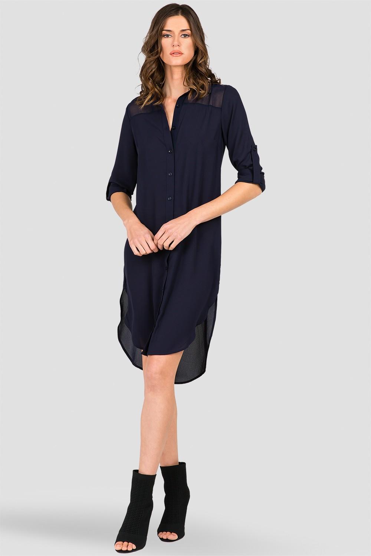 Standards Practices Womens Dark Blue Long Sleeve Chiffon Shirt
