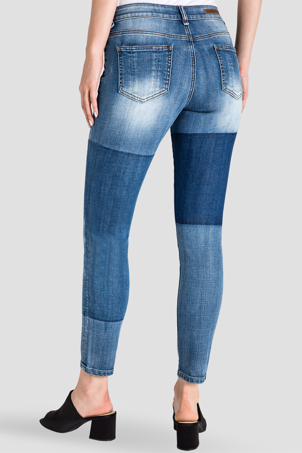 Standards & Practices Women's Patchwork Indigo Stretch Skinny Jeans