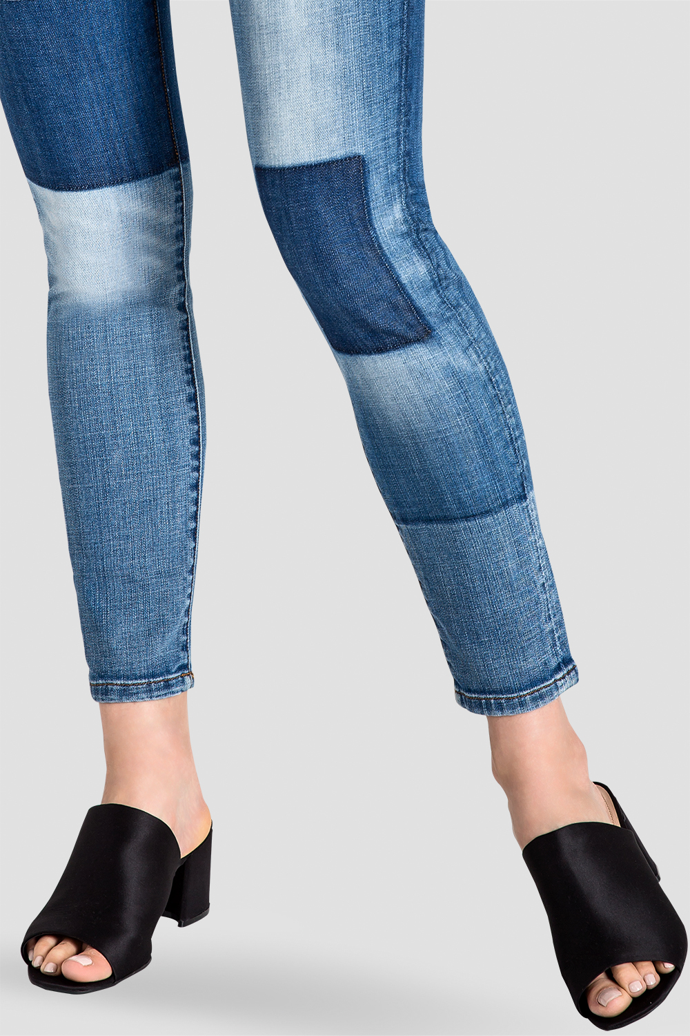 Isabel Patchwork Indigo Stretch Jeans Detail