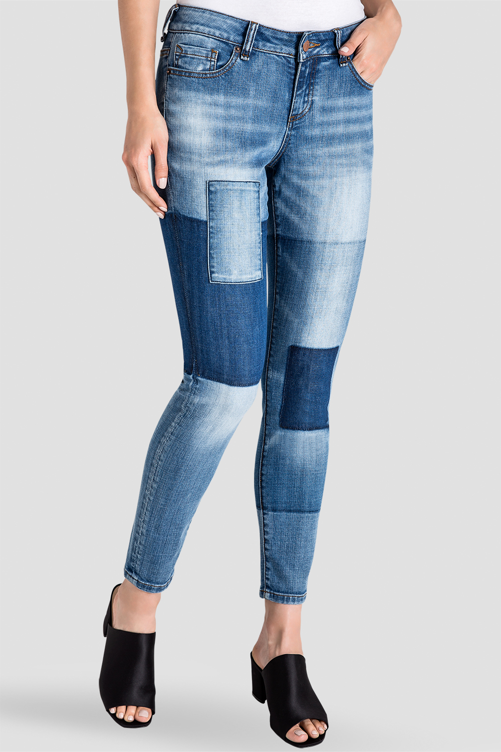 Isabel Patchwork Indigo Stretch Jeans Side