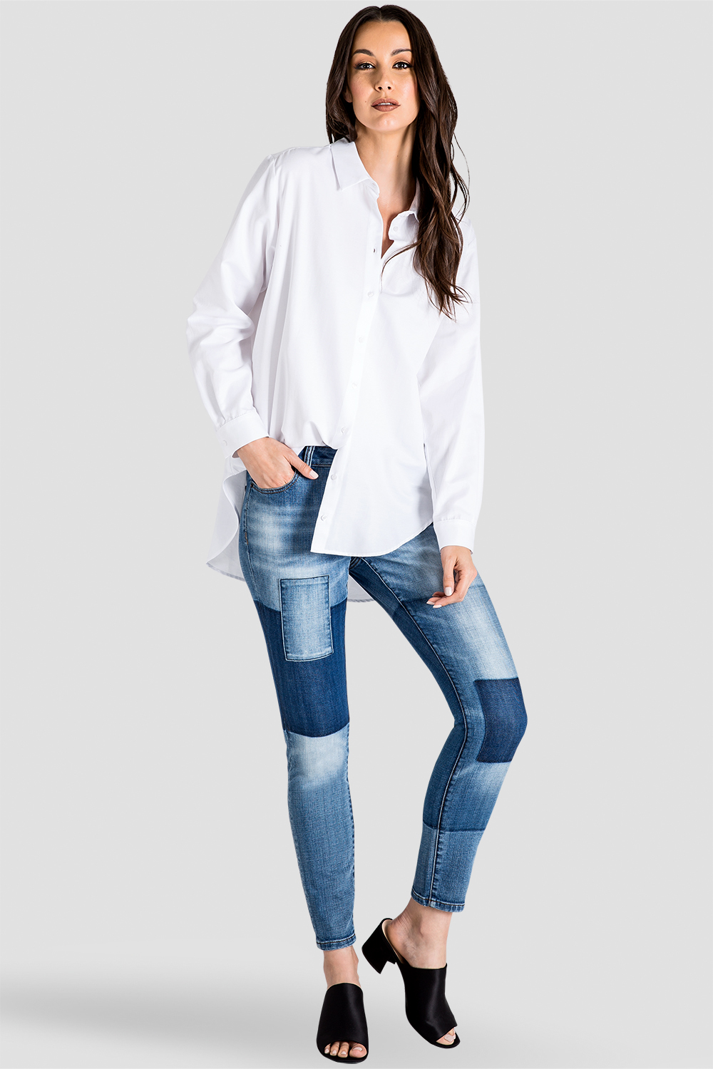 Women's Patchwork Indigo Stretch Skinny Jeans