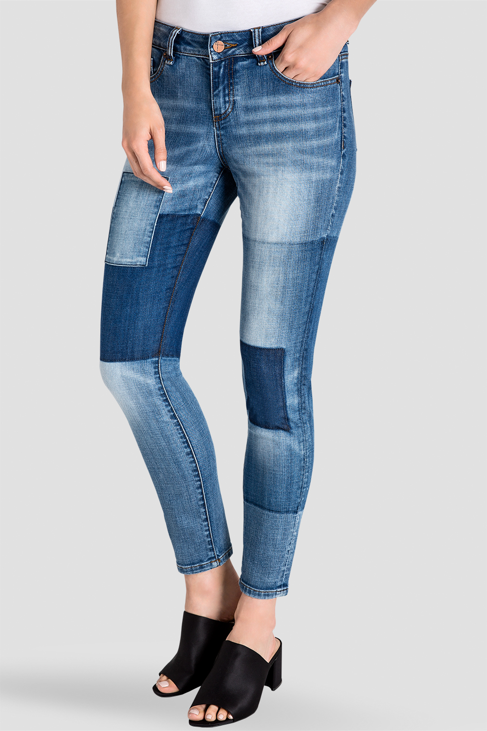 Isabel Patchwork Indigo Stretch Jeans Front