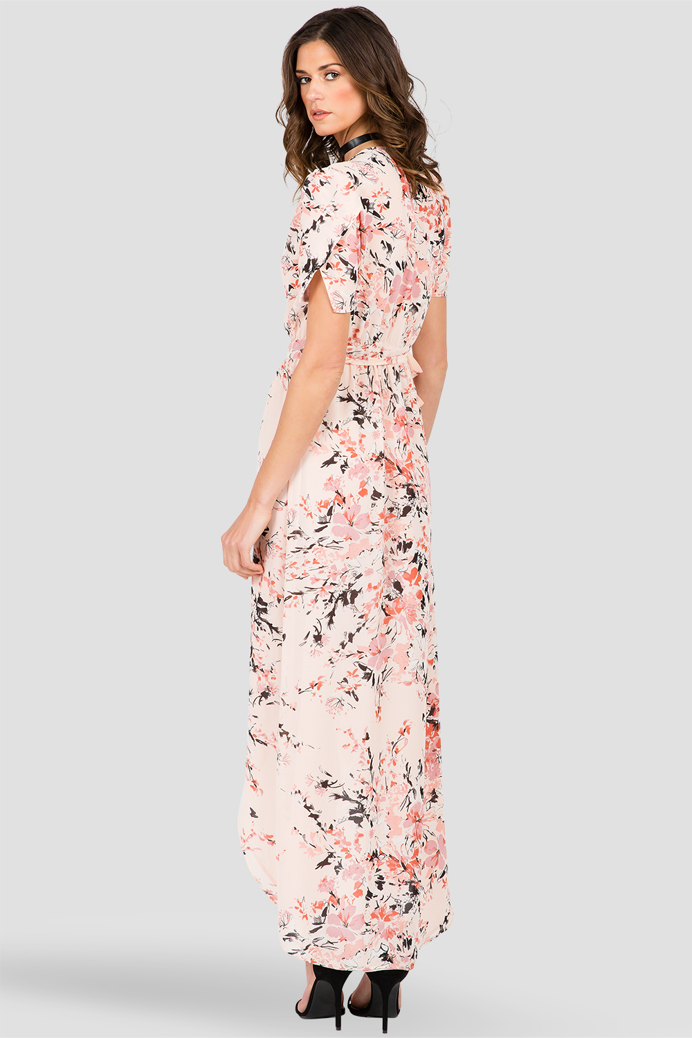 Peach & Pink Floral Print Short-Sleeve Maxi Wrap Dress