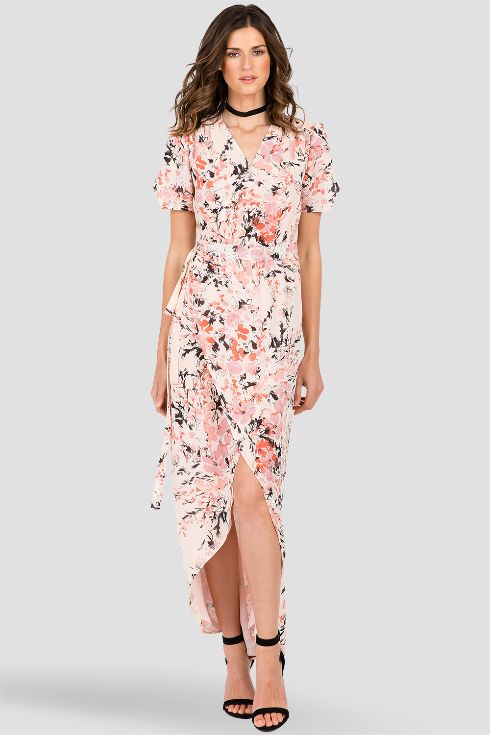Peach & Pink Floral Short Sleeve Wrap Maxi Dress
