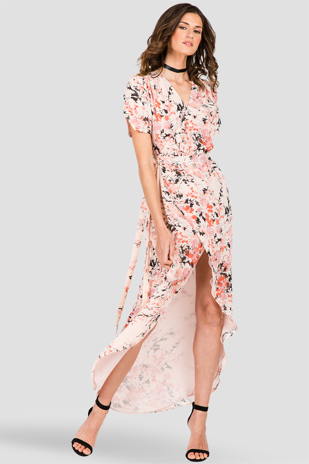 Women's Peach & Pink Floral Print V-Neck Maxi Dress