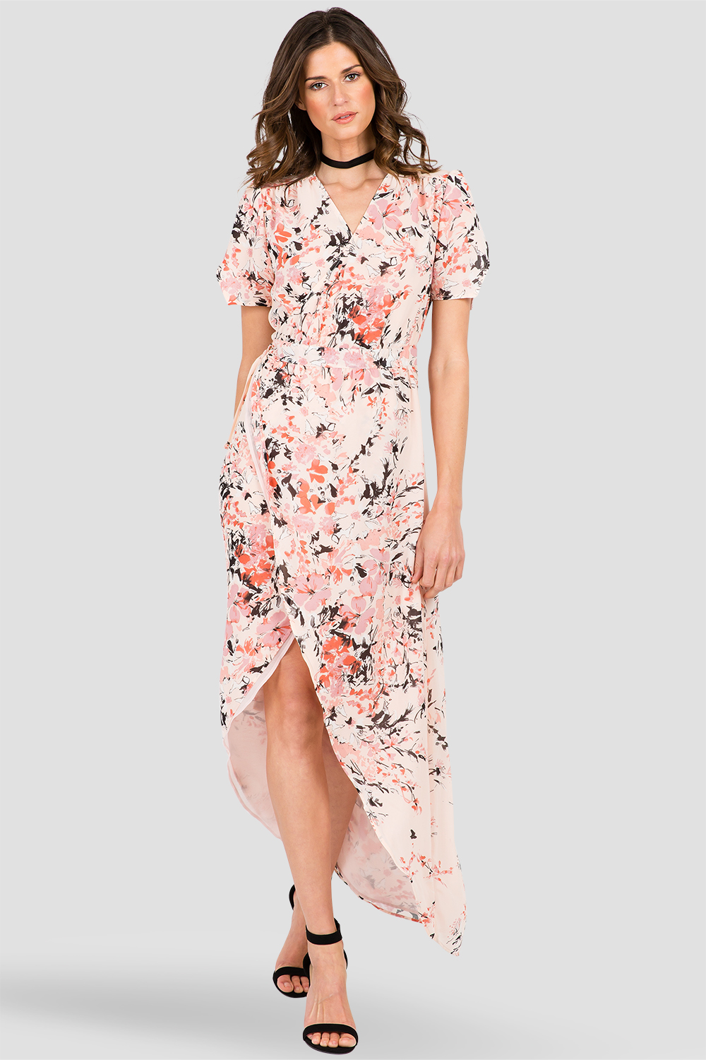 Peach & Pink Floral Print V-Neck Wrap Maxi Dress