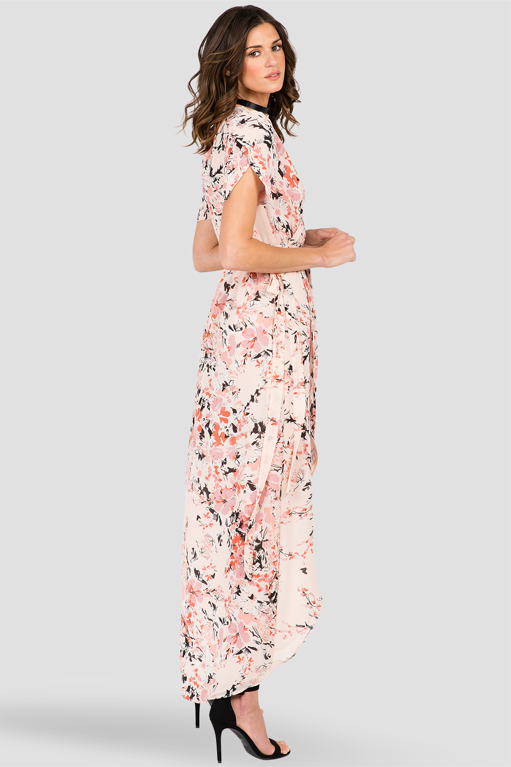 Robin Short Sleeve V-Neck Maxi Dress Peach Pink Floral Print