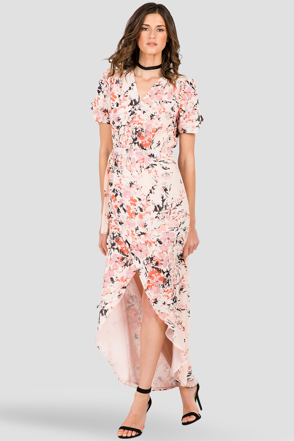Standards & Practices Women's Short Sleeve V-Neck Maxi Dress, Peach Pink Floral Print
