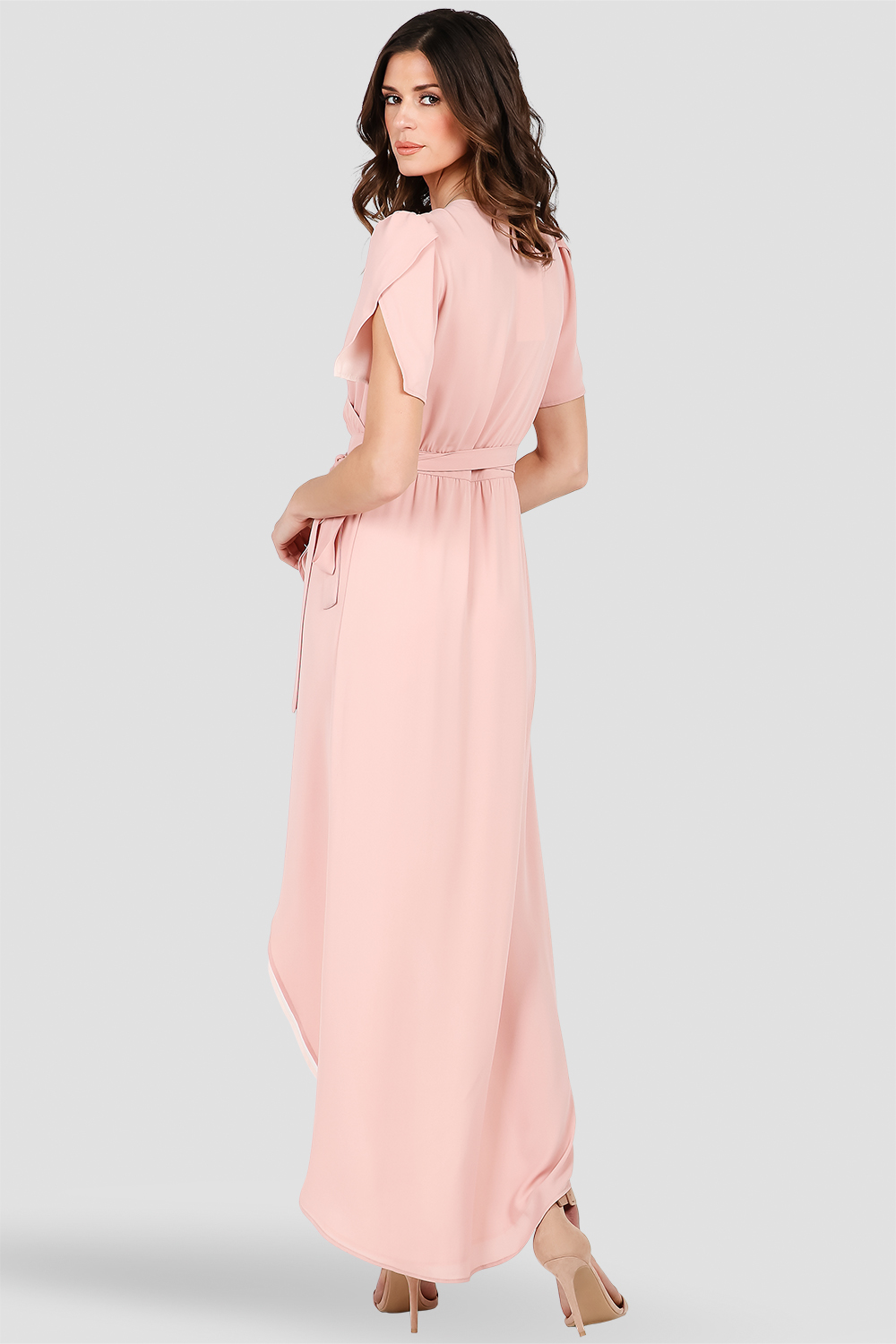 Women's Deep Pink Short-Sleeve Maxi Wrap Dress