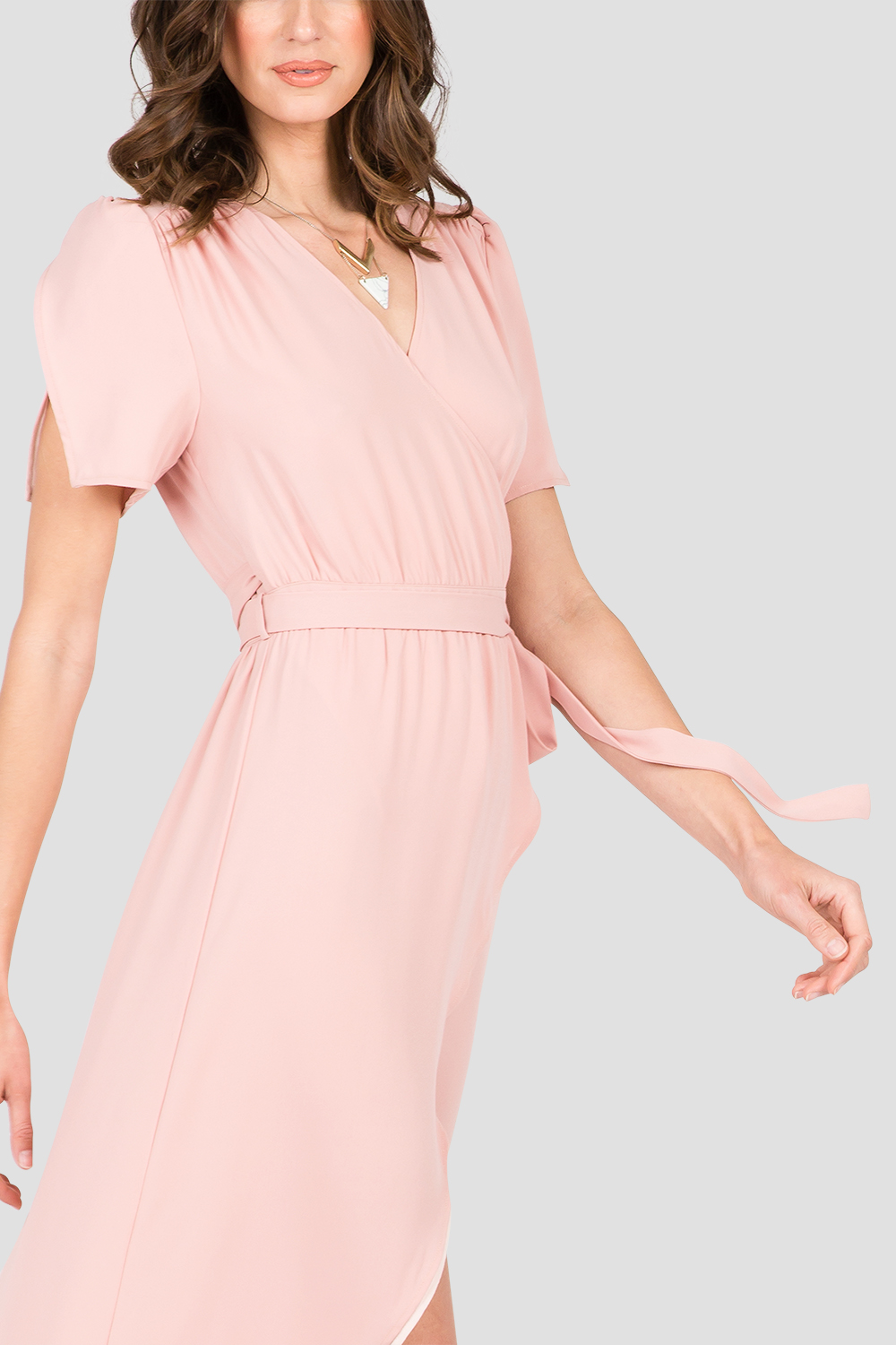 Rose Pink V-Neck Maxi Dress