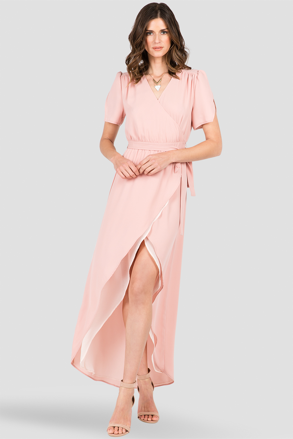 Dark Pink V-Neck Wrap Maxi Dress
