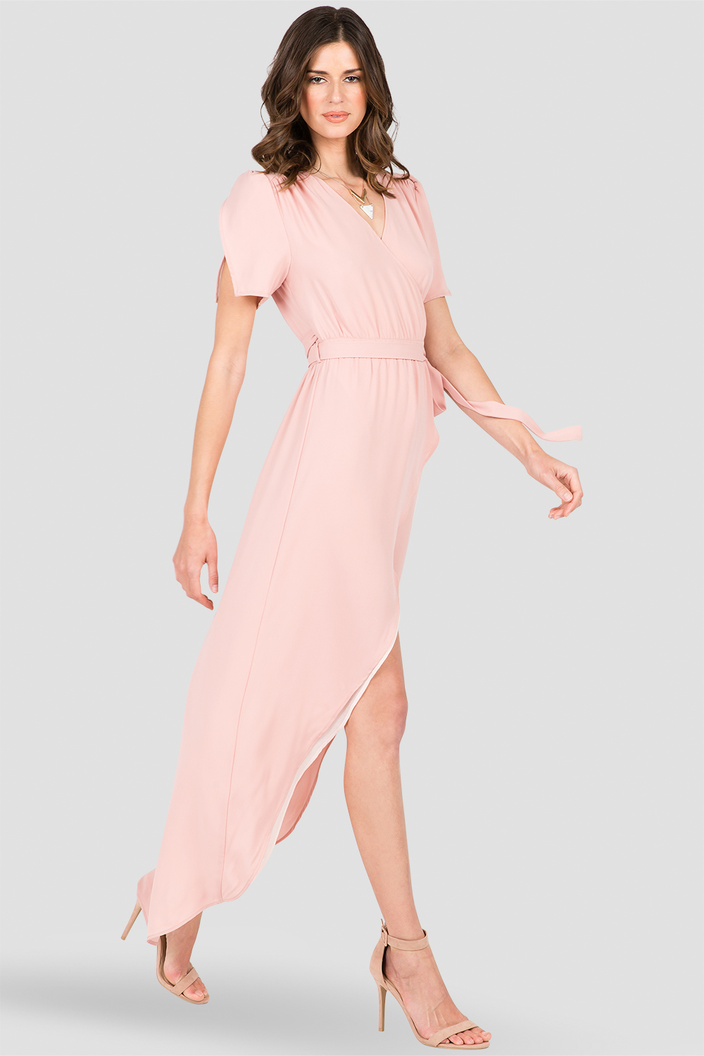 Women's Rose Pink V-Neck Maxi Dress