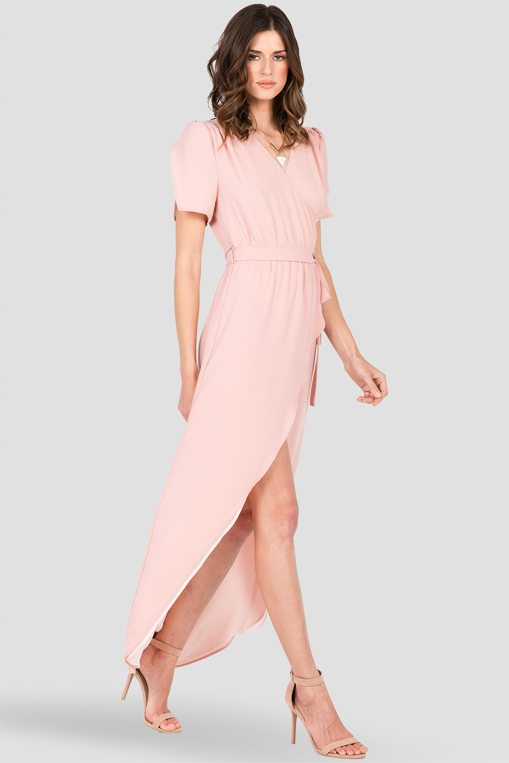 Standards & Practices Dark Pink Short Sleeve Wrap Maxi Dress