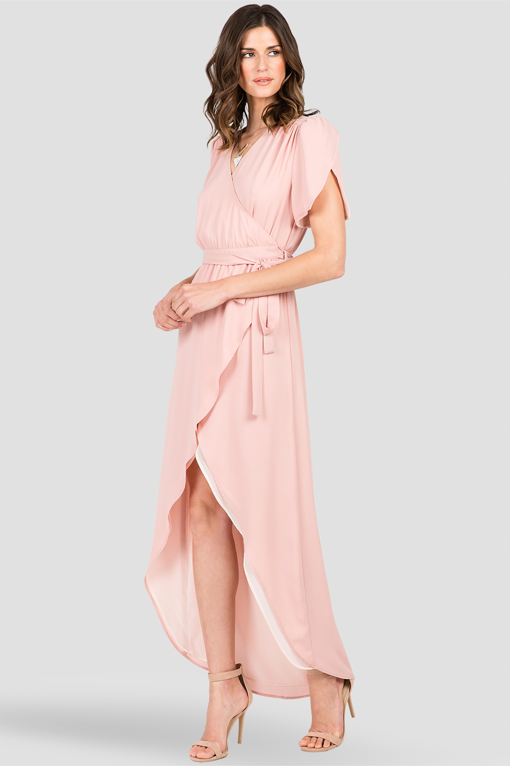 Dark Pink Short Sleeve Wrap Maxi Dress