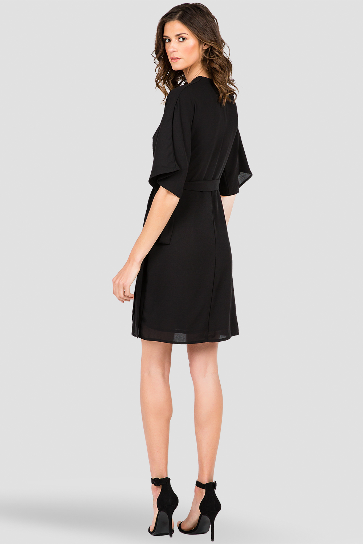Standards & Practices Black Chiffon Wrap Midi Dress