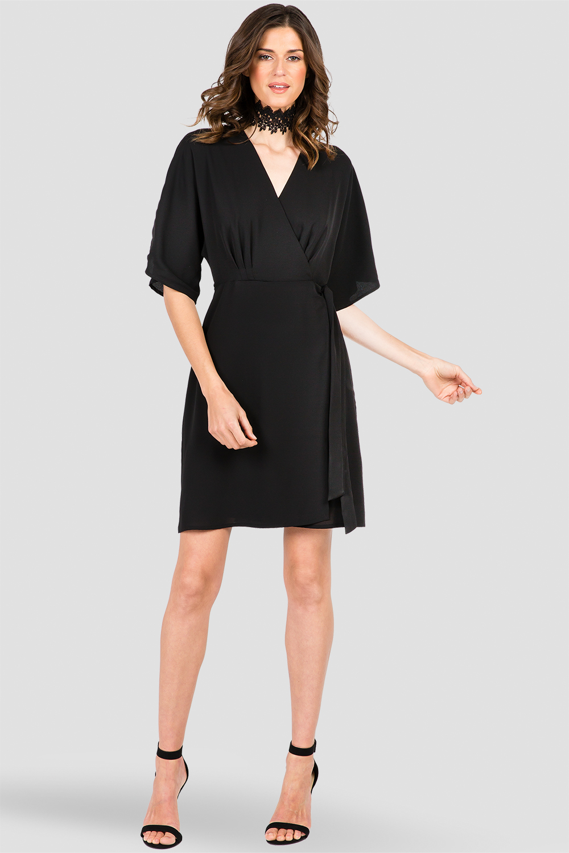 Women's Black Kimono Wrap Midi Dress