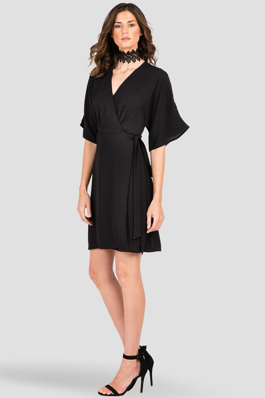 Women's Candice Black V-Neck Kimono Wrap Midi Dress