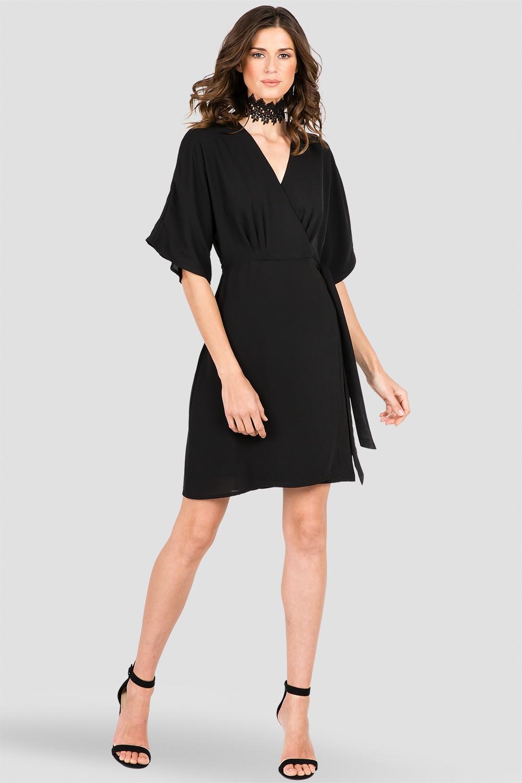Women's Black Chiffon Wrap Midi Dress