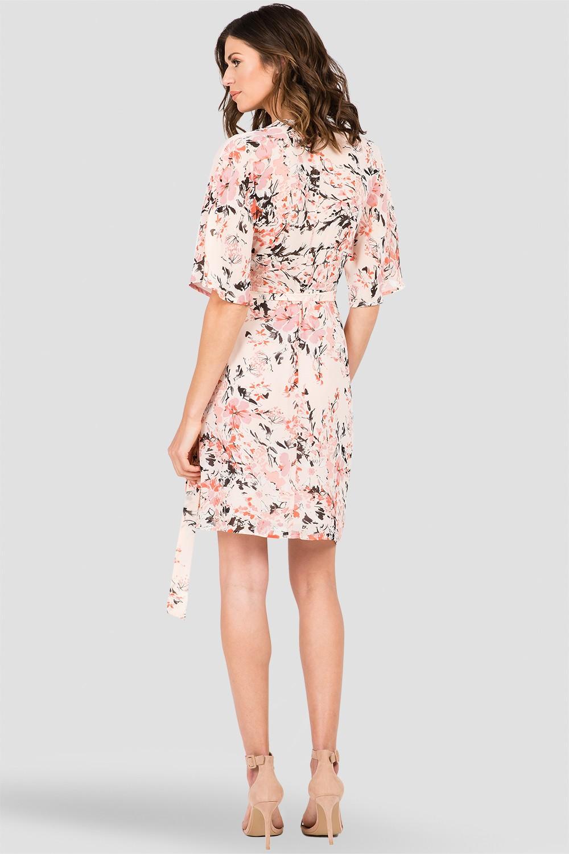 Standards & Practices Women's V-Neck Kimono Wrap Midi Dress, Peach All Over Floral Print