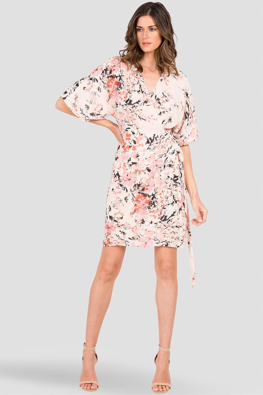 Peach & Pink Floral Print Kimono Wrap Midi Dress