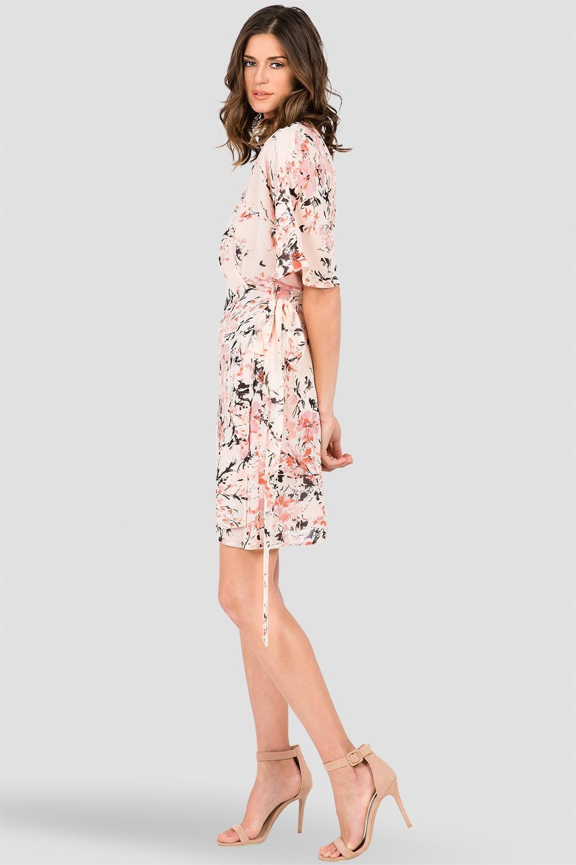 Peach & Pink Floral Print Short Sleeve Wrap Midi Dress