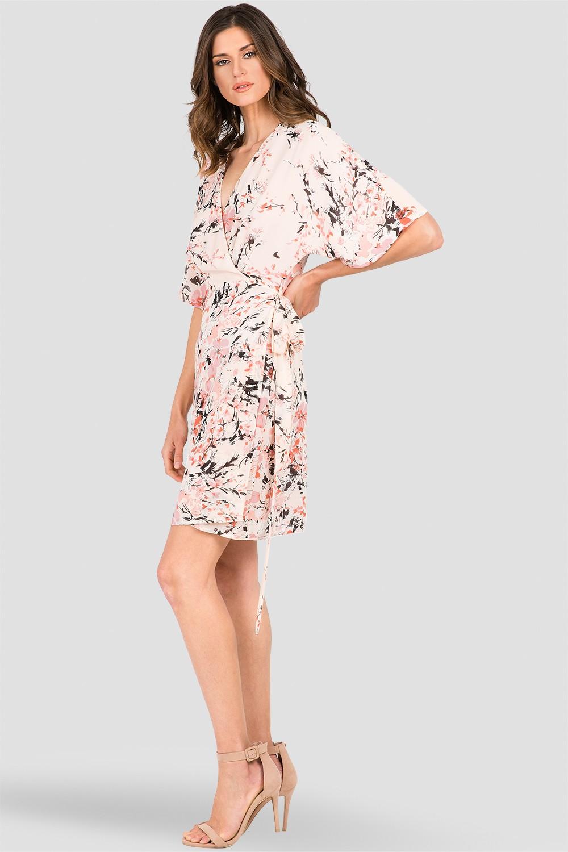 Candice V-Neck Kimono Wrap Midi Dress Peach Pink Floral Print