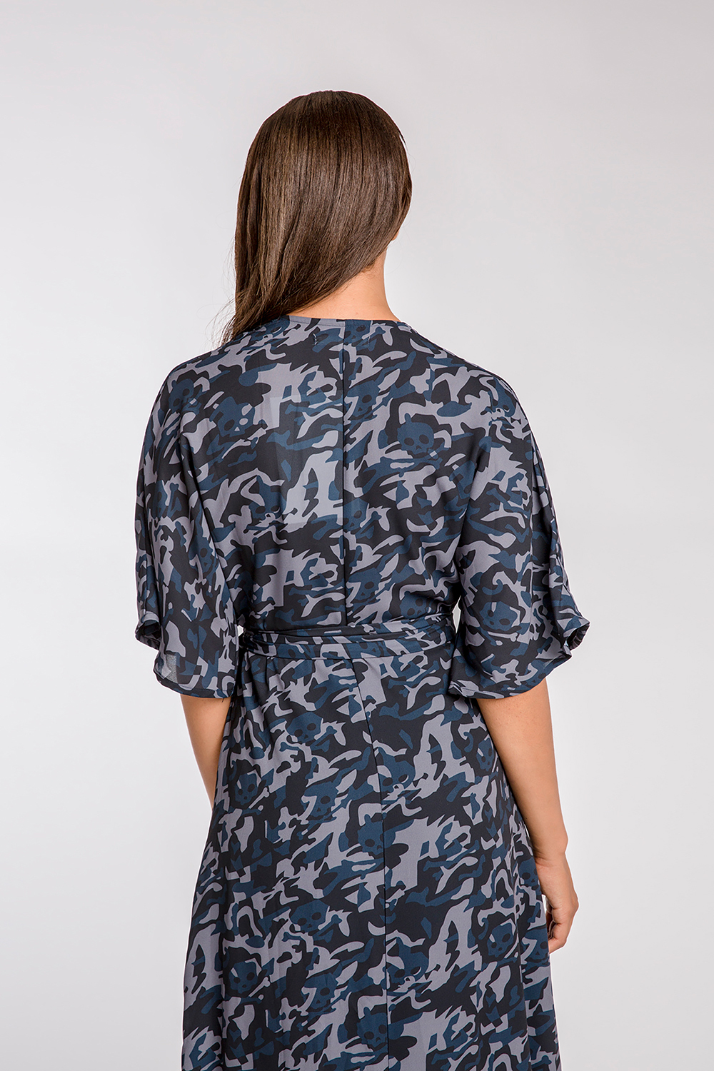 Wrap Dress in Blue Camo Kimono Sleeve & Cinched Waist