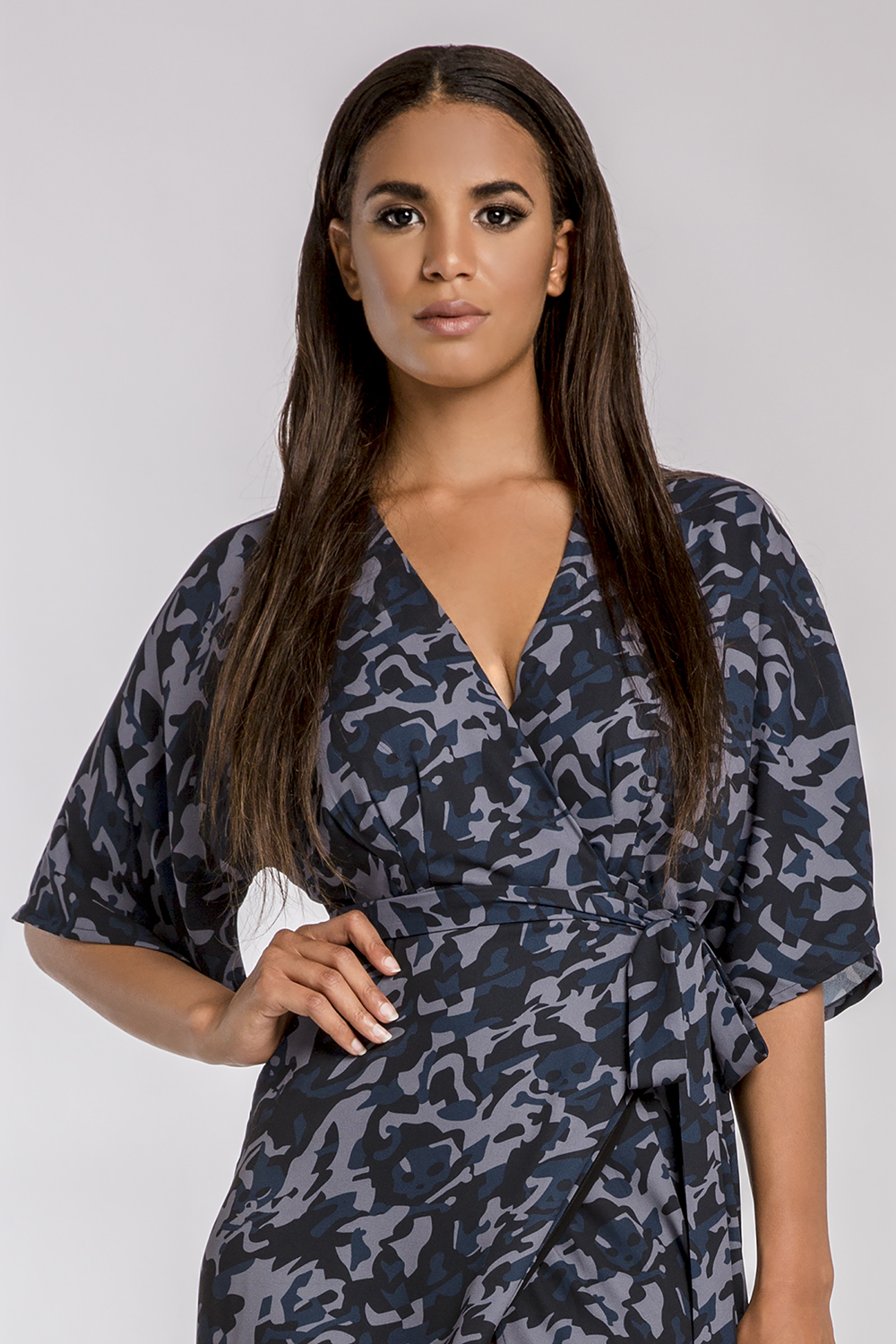 Women's Olivia Wrap Dress Blue Camo w/ Kimono Sleeve & Cinched Waist