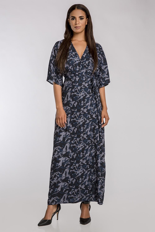 8d85b4321c8 Standards   Practices - Women s Blue Chiffon Camo Wrap Dress w ...