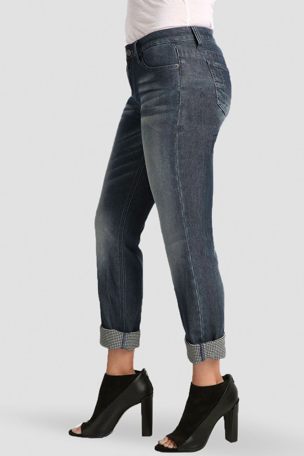 Stretch Woven Double Faced Denim Boyfriend Jeans W Rolled Cuffs